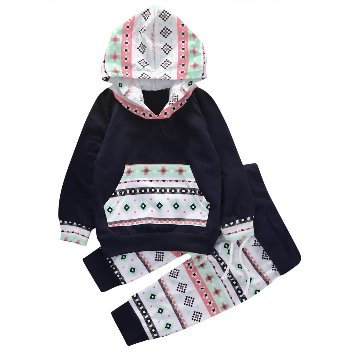 الجملة- 2016 الخريف نمط ملابس الرضع ملابس الطفل مجموعات الطفل بنين بنات قمم هوديي + السراويل الطويلة 2 قطع ملابس مجموعة الملابس