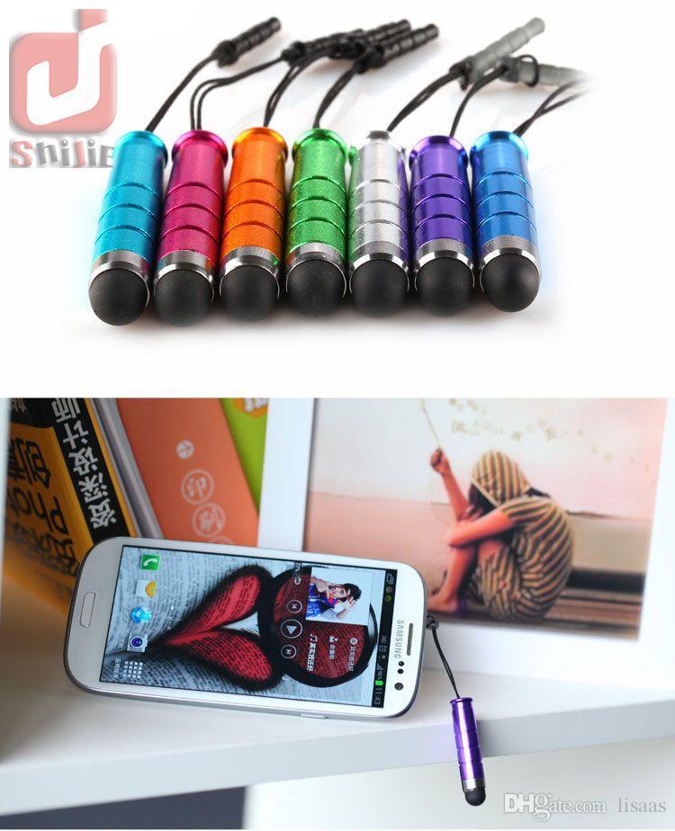 Cep telefonu için toz fişi ile 1000pcs / lot Unviersal Mini Stylus Touch Pen