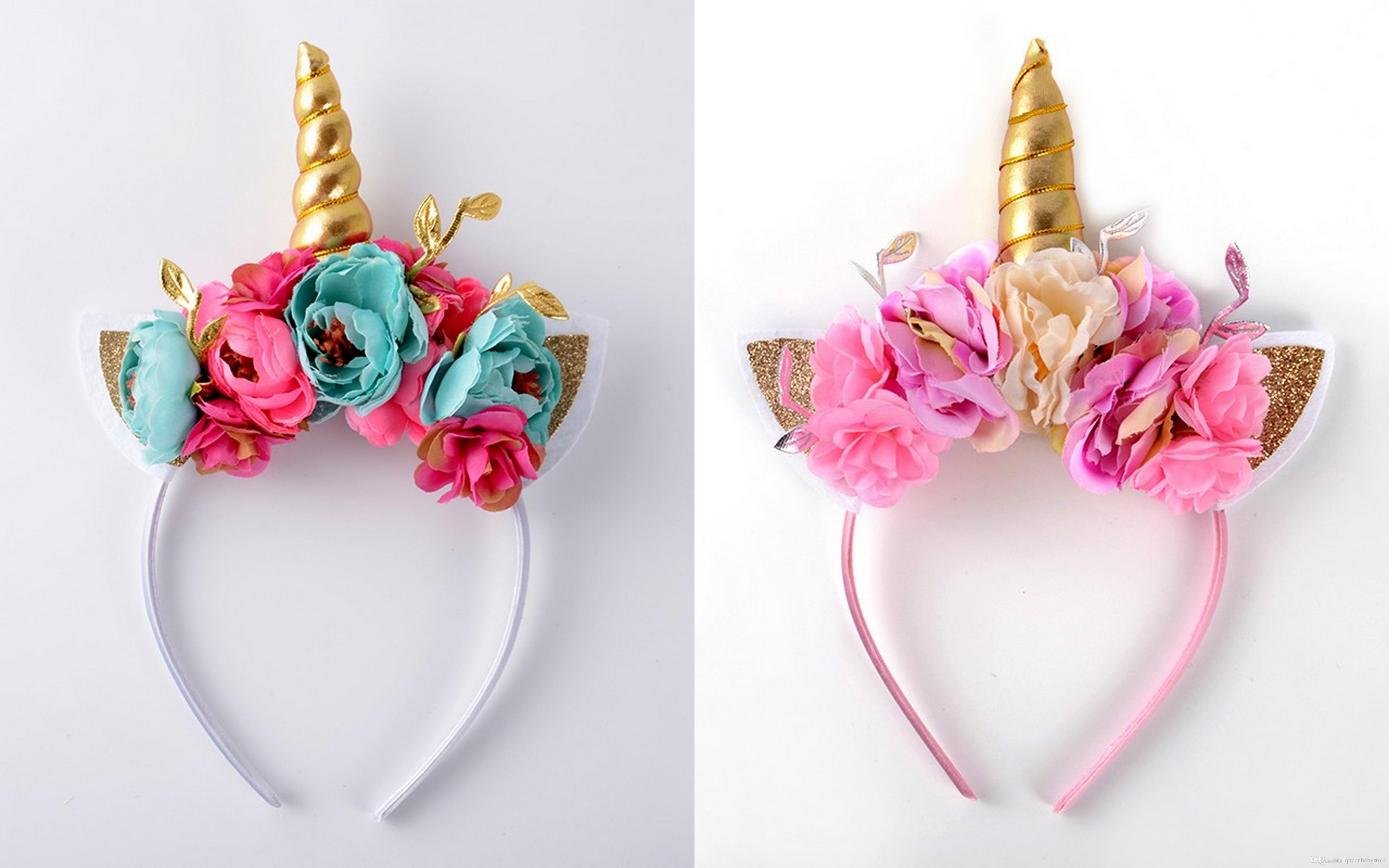 Unicorn Headband Lace Flower Crown Hair Accessories For Girls Birthday Gifts New