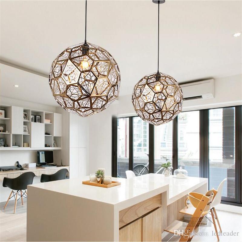 L17-Modern Stainless Steel Diamond Ball Pendant Lights Art Grid Jewel Ball E27 Hang Lamp for Living Room Study Bedroom/Pub