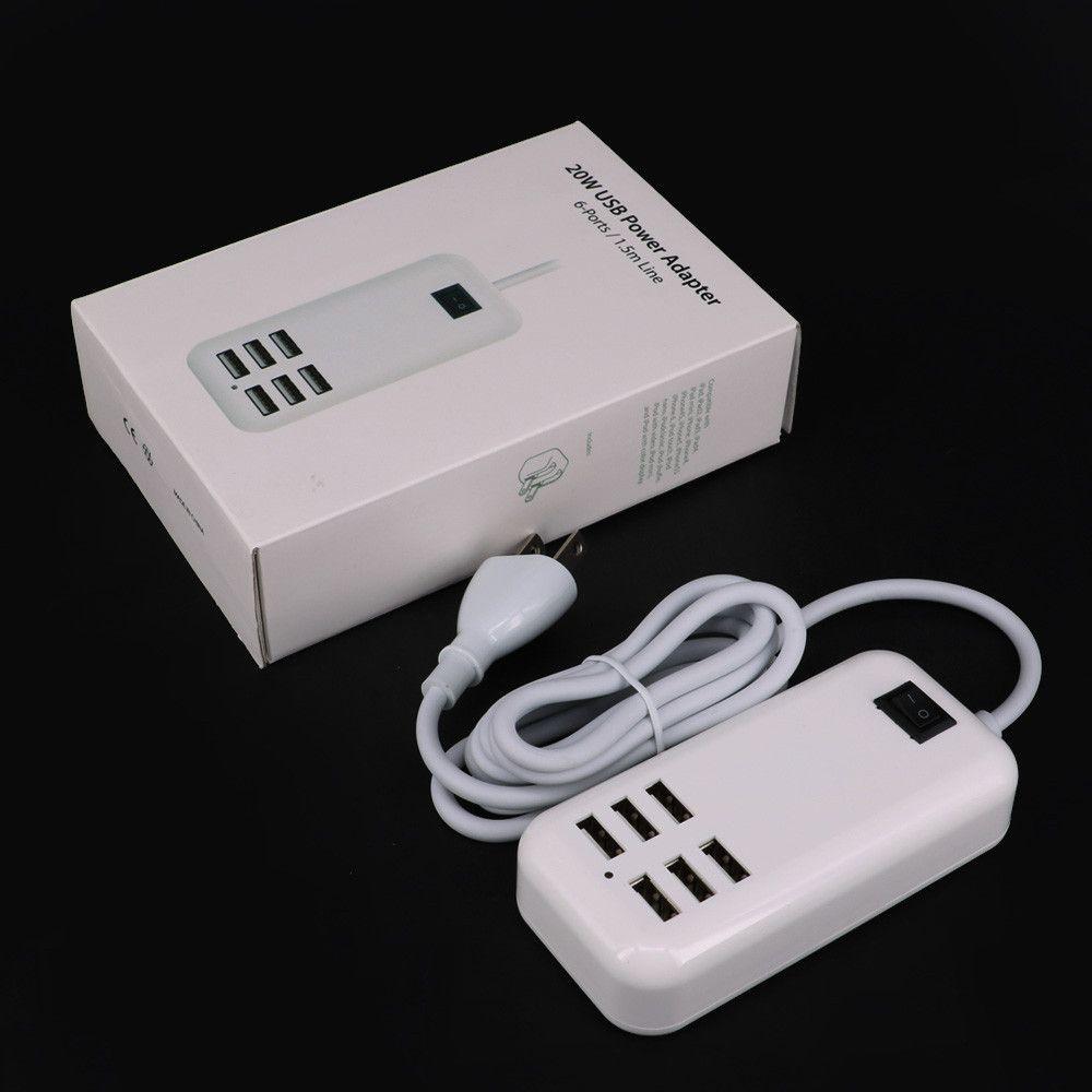 6 USB Ports Charger HUB Desktop US EU Plug Wall Socket Slots Charging Extension Socket Power Adapter for Phone Tablet