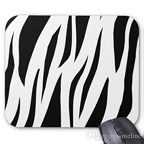 Black and White Zebra Print Stripes Pattern Custom Rectangle Mouse Pad Office Gaming Mousepad Design