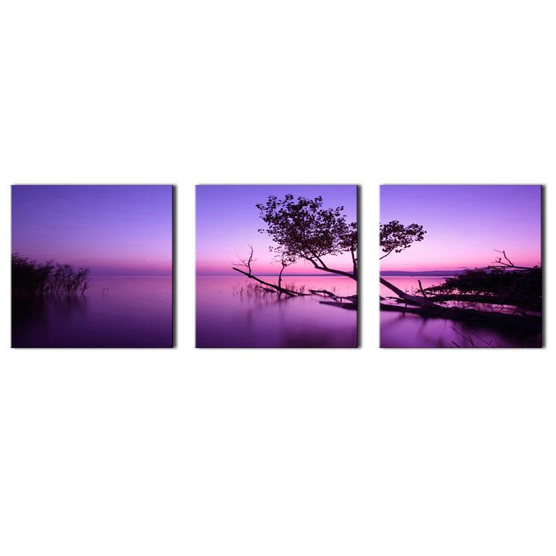3 Panels Landscape Picture Purple Wall Art Painting Purple Lake Tree Picture Prints On Canvas with Wooden Framed for Home Decoration