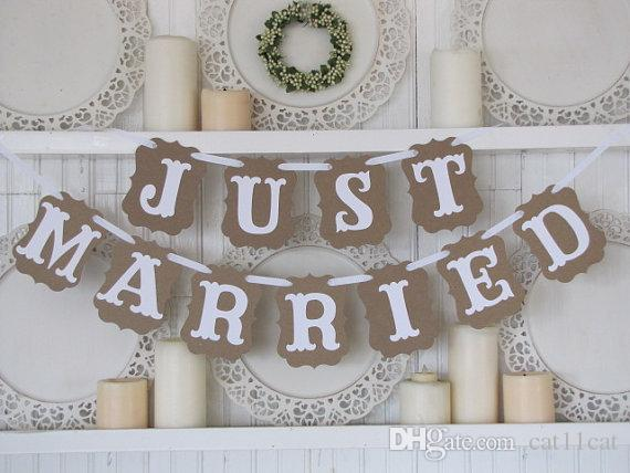 Vintage Wedding Party Photo Just Married Banner Garlands Props