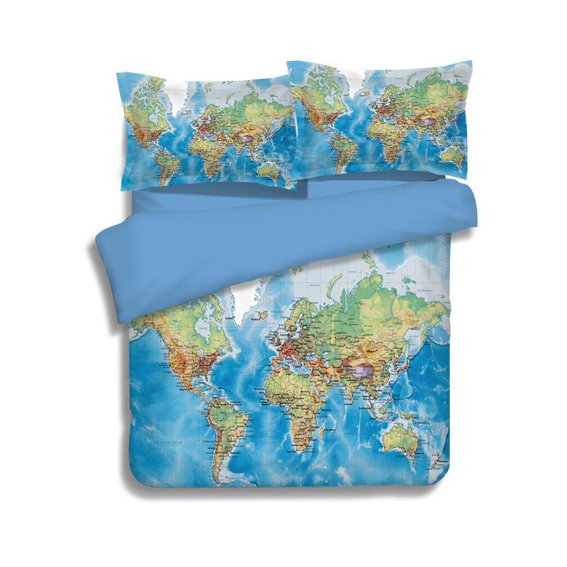 Blue World Map Printing Bedding Sets Twin Full Queen King Size Fabric Cotton Bedclothes Bedspreads Duvet Covers Pillow Shams Comforter 3/4PC