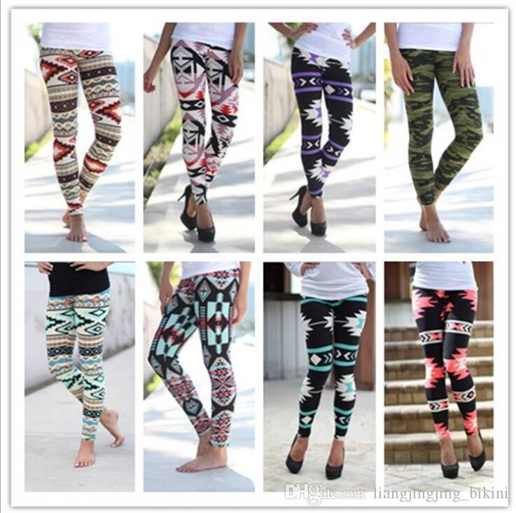 Impresso Leggings Casual Skinny Legging Elástico Magro Lápis Calças Moda Feminina Calças Elásticas Geométricas Leggings Jeggings KKA2136