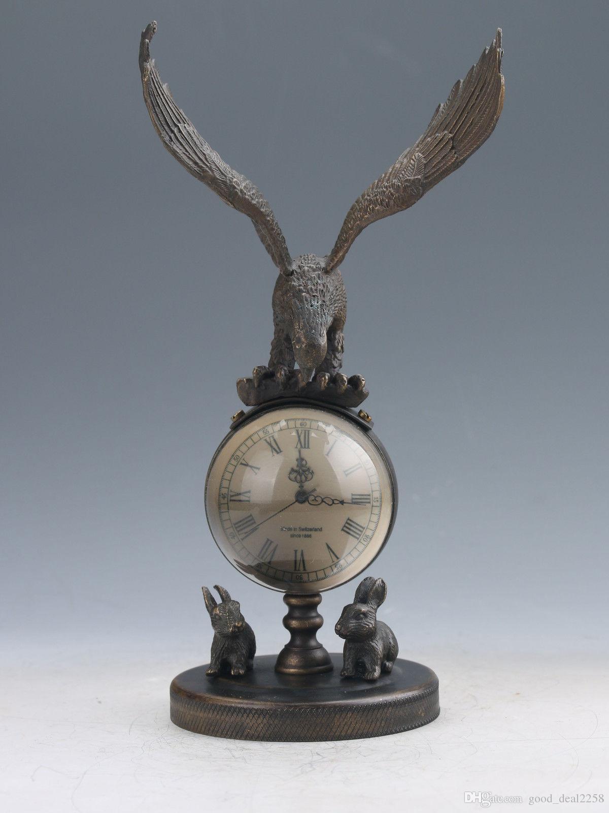 Collection Arts Vintage Oriental Rare Old Chinois Bronze Tableau Mechanical Tableau Mécanique Statues Aigle Statues Horloge