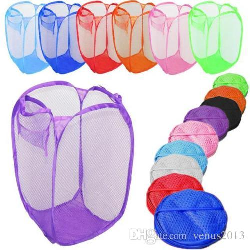 2016 New Mesh Fabric Foldable Pop Up Dirty Clothes Washing Laundry Basket Bag Bin Hamper Storage for Home Housekeeping Use 100pcs/lot