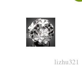 24K White Gold Floweri Crystal Ring 8 #