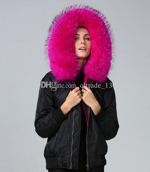 inverno pele grossa Nylon casacos marca Meifeng subiu peles de guarnição do guaxinim mulheres casacos de neve subiu de pele de coelho forrado de nylon preto bombardeiro parka