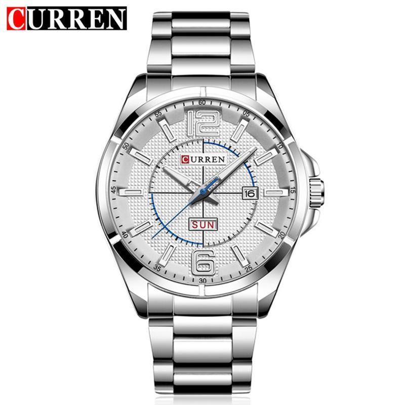 Curren Business Quartz Watch Men Metal Stainless Steel Band Auto Date Day Week Wristwatches Relogio Masculino 8271