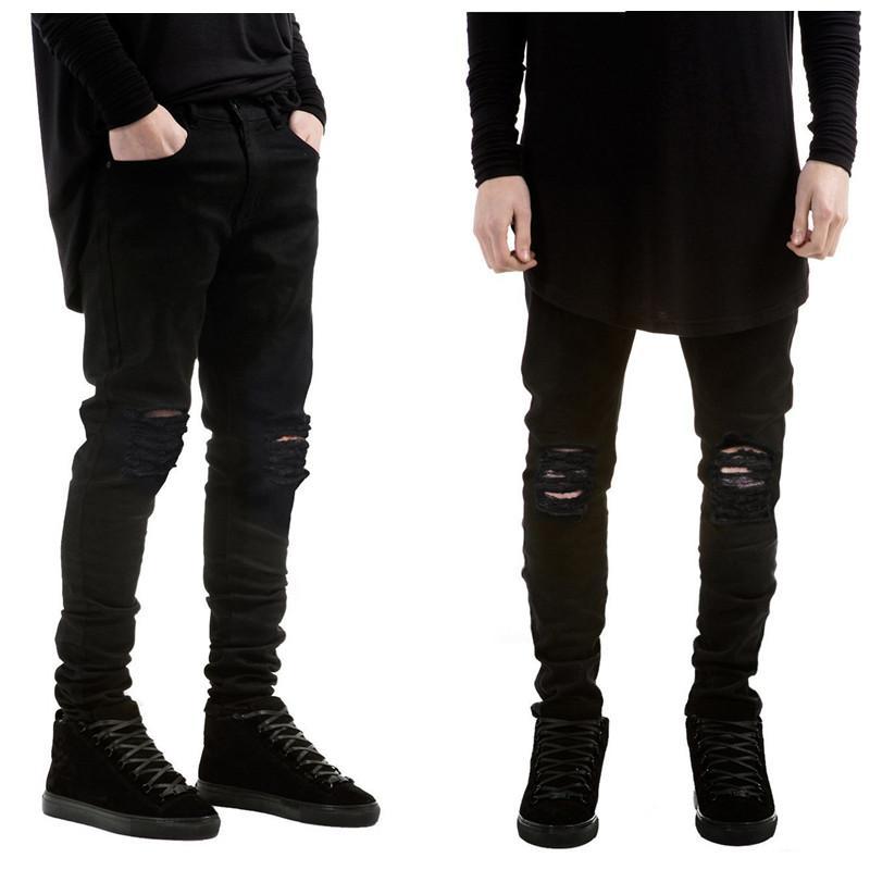 Los nuevos hombres de la moda los pantalones vaqueros negros flacos rasgados estiramiento delgado de la cadera al oeste hop botín pantalones de motorista de la motocicleta del dril de algodón del basculador