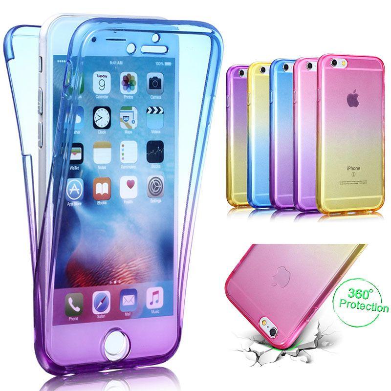 Custodia Protettiva In TPU Flessibile Telefono Full Body Da 360 Gradi IPhone 5S 5 SE 6 6S 7 Plus Gradient Color Cover Frontale Trasparente Da ...