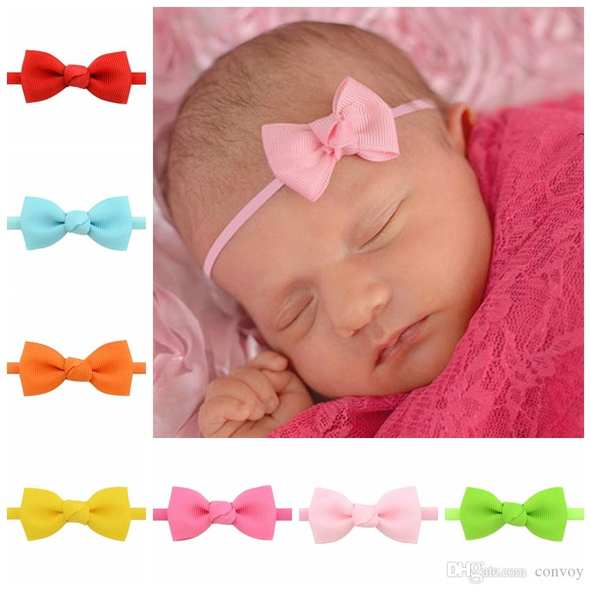 Bow Headbands Babies For Girls Nylon Hair Accessories Fashion Solid Hairbands