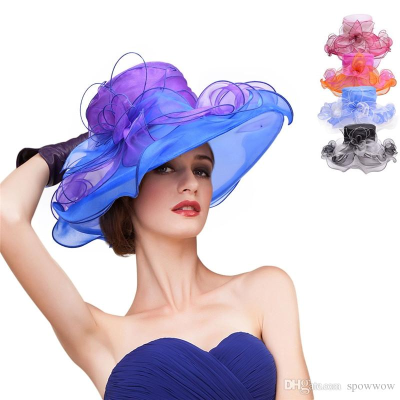 Femmes Large Bord Organza Ruban Floral Plage Soleil Chapeau Deux Tons Habillé Occasions Formelles Église Du Kentucky Derby Floppy A442