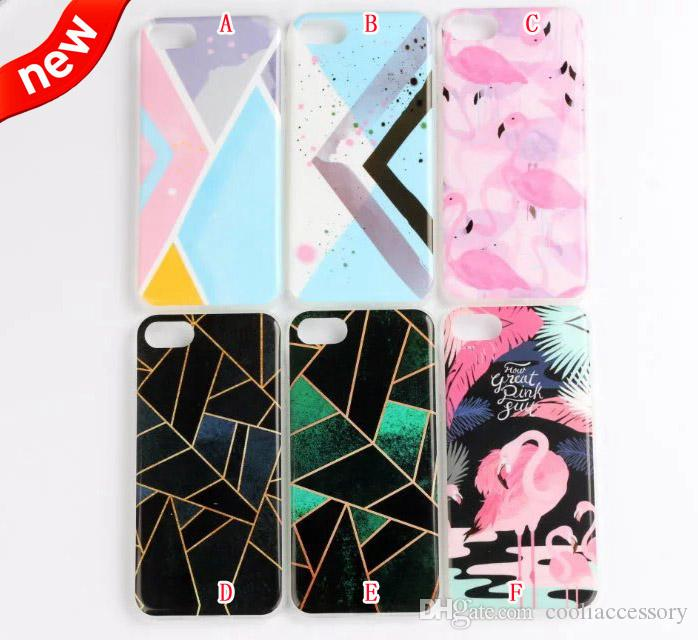 Flower Cartoon Soft TPU Case For Iphone 8 7 Plus 7plus I8 6 6S SE 5 5S Silicone Plant Tree Bird Flamingo Cell phone Skin Cover Luxury 100PCS