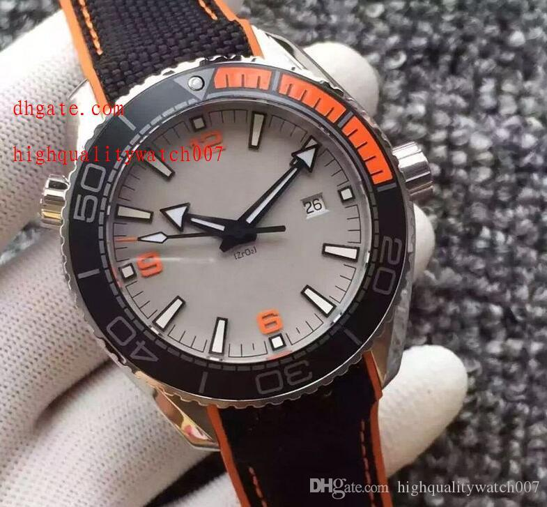 Top High Quality Automatic machinery Power Reserve 43mm 215.32.44.21.01.001White dial Black Nylon bracelet Perfect men watch