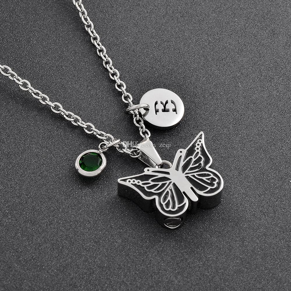 Czarny Emalia Butterfly Memorial Biżuteria DIY Birthstone List Kremacja Urn Wisiorek Naszyjnik Dla Pet / Human Ashes Kobiety Moda Biżuteria