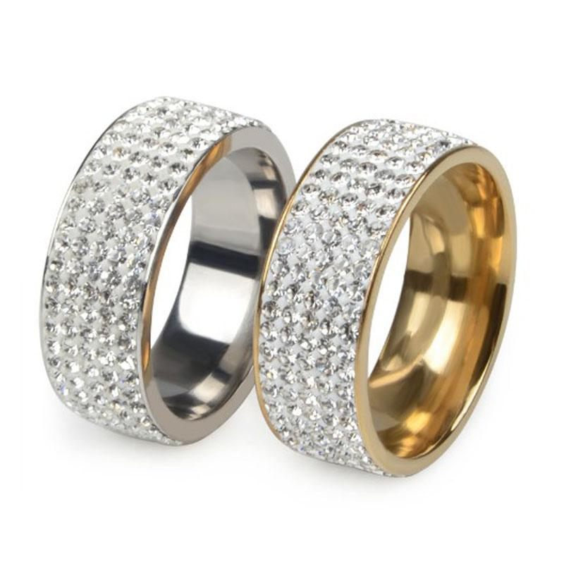 Womens Men Crystal Titanium Stainless Steel Double Rows Wedding Band Ring Ring