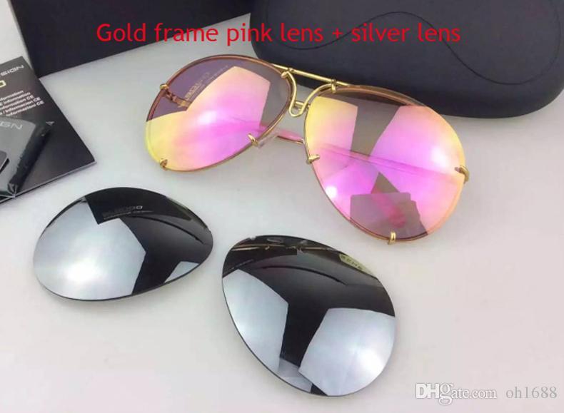 Automarke Carerras 8478 Sonnenbrille P8478 Ein Spiegel Objektiv Pilot Rahmen mit extra Objektiv Austausch Auto Marke große Größe Männer Markendesigner