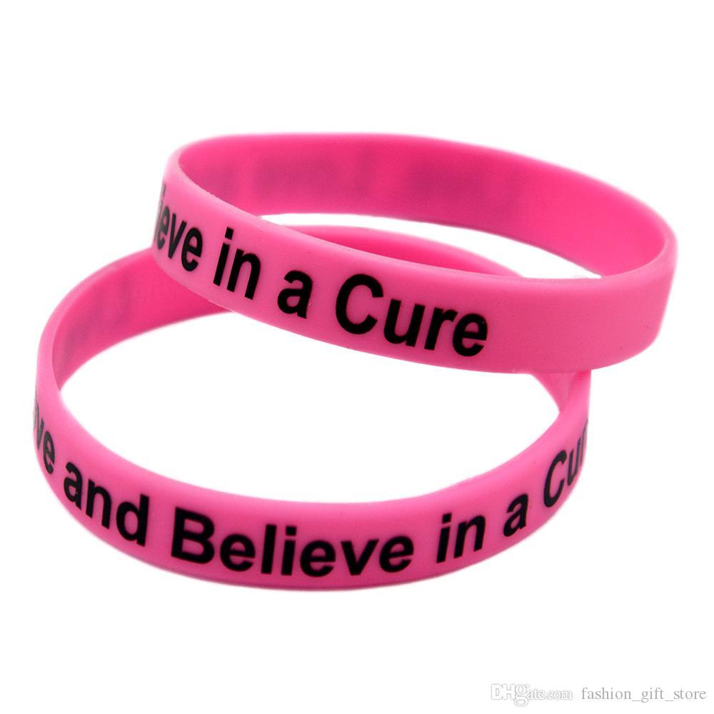 1 pc Amor ao vivo e acredite em uma cura pulseira de borracha de silicone impressa logotipo motivacional tamanho adulto rosa