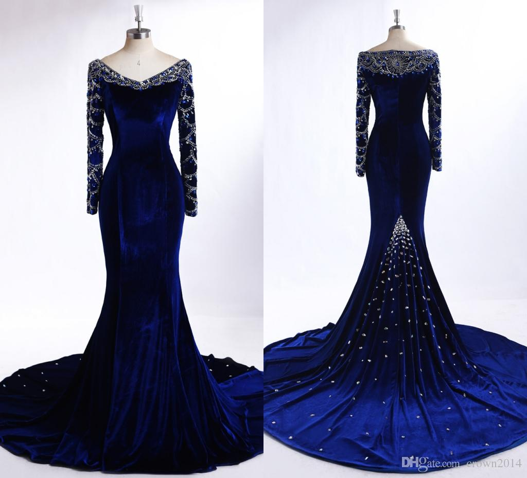 Royal Blue Velvet Evening Dresses With Long Sleeves 2019 Winter Real Photos V-neck Beaded Crystal Mermaid Sweep Train Fromal Evening Gowns