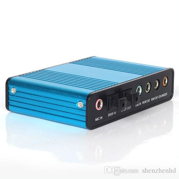 صفقة ساخنة جديدة 1PCS الأزرق 6 قناة 5.1 بطاقة الصوت الصوت الموسيقى الخارجية بطاقة الصوت لأجهزة الكمبيوتر المحمول