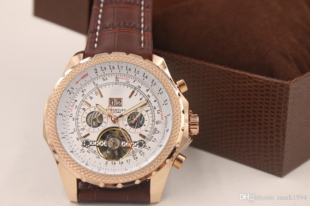 2014 년 새로운 패션 갈색 가죽 밴드 1884 년 남자 시계는 tourbillion 골드 스테인레스 스틸 고급 남자 시계