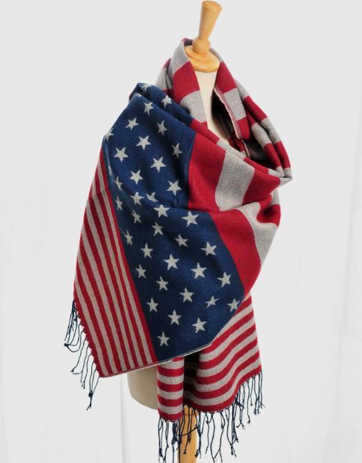 Wholesale- 2016アメリカンフラッグインフィニティスカーフFoulard女性スターストリプムヤー射手フェムメファルレスMujer Poncho Bufanda Fall Winter Schal