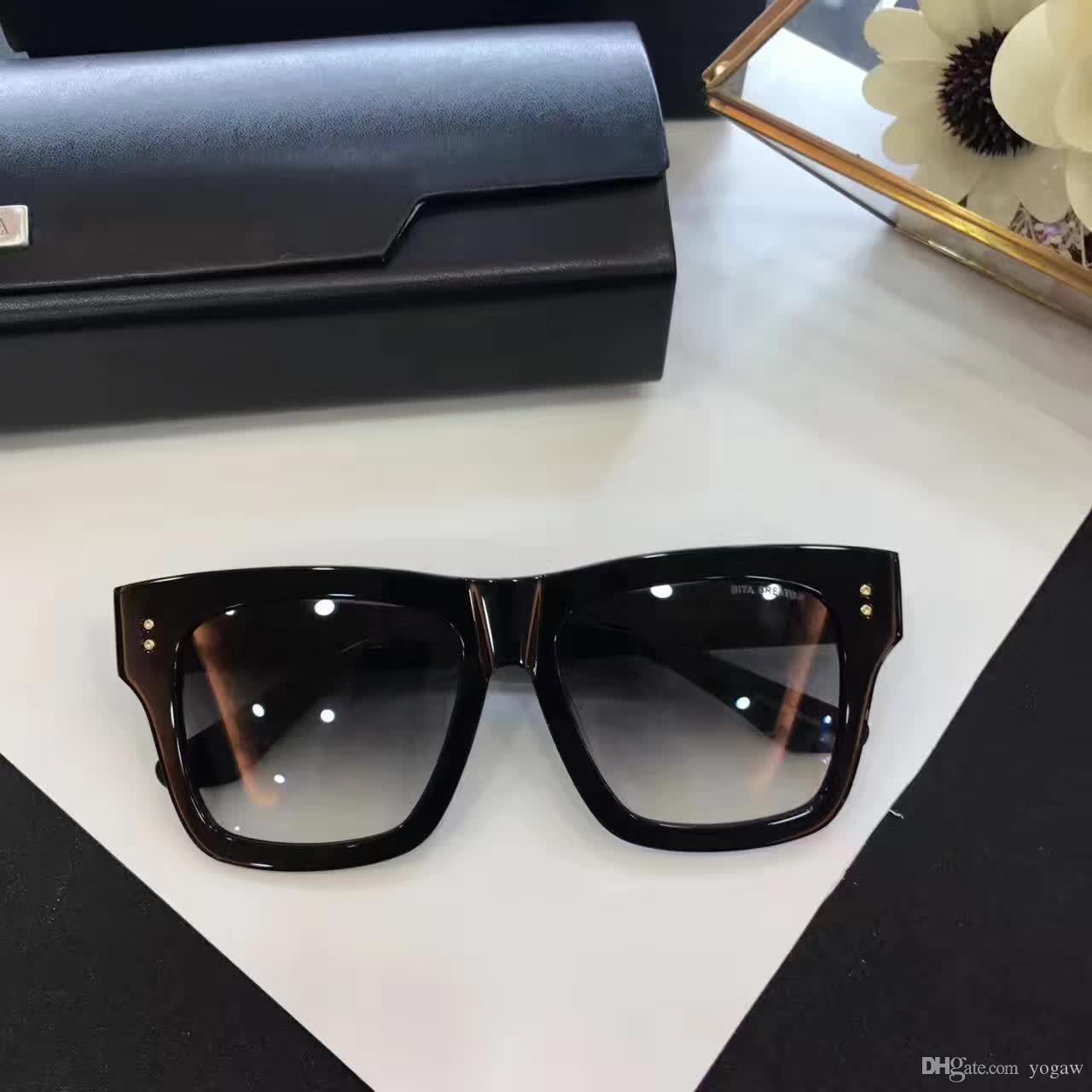 Охладить Mens площади Солнцезащитные очки Shinny Черный каркас серый градиент объектива моды квадратные очки Rare Новые с коробкой