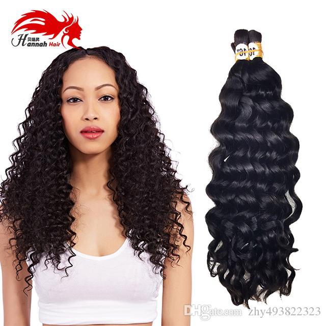 Vison Brésilien Cheveux Vierge 3 Bundles en vrac pour cheveux Tressage profonde vague bouclée Vierge brazilian Tressage de cheveux humains en vrac Non Trame en vrac
