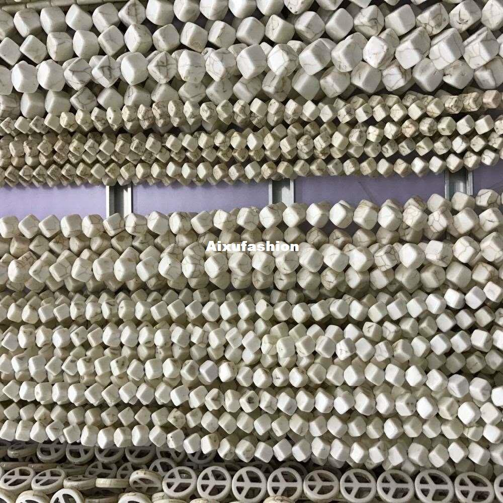 49 unids / lote 6 * 6mm Forma Cuadrada Azul Semi-Precious-Stone Natural Creado Cuentas de Turquesa DIY Joyería Pulsera Hallazgos Accesorios Granos Flojos