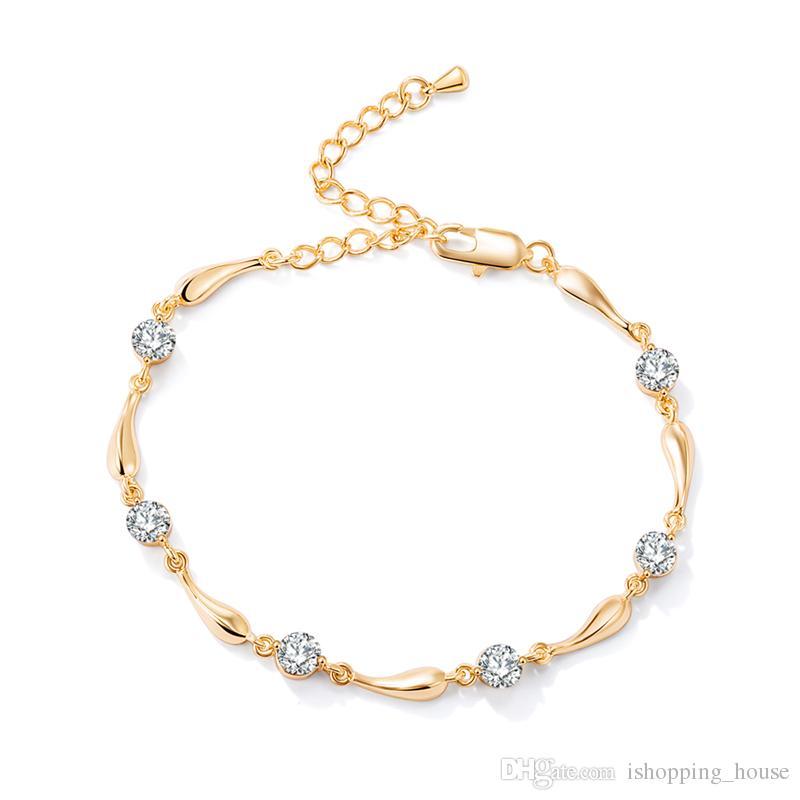 Le donne Catena Anklet Estate Jewelry braccialetto del piede per le ragazze delle donne 18K placcato oro reale CZ Waterdrop sandali a piedi nudi JL0004 Catena