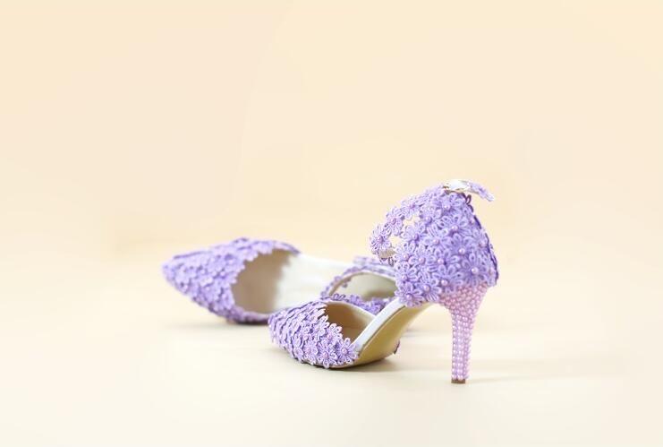 Scarpe Da Sposa Lilla.Acquista Scarpe Cenerentola Allingrosso Pizzo Lilla Perle 9cm