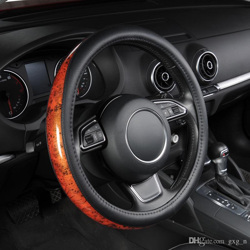 AUTOYOUTH Auto Lenkradbezug Kleine Schwarze Lychee Muster Crescent Holzmaserung Universal 38 cm / 15 zoll Auto Styling für Toyota