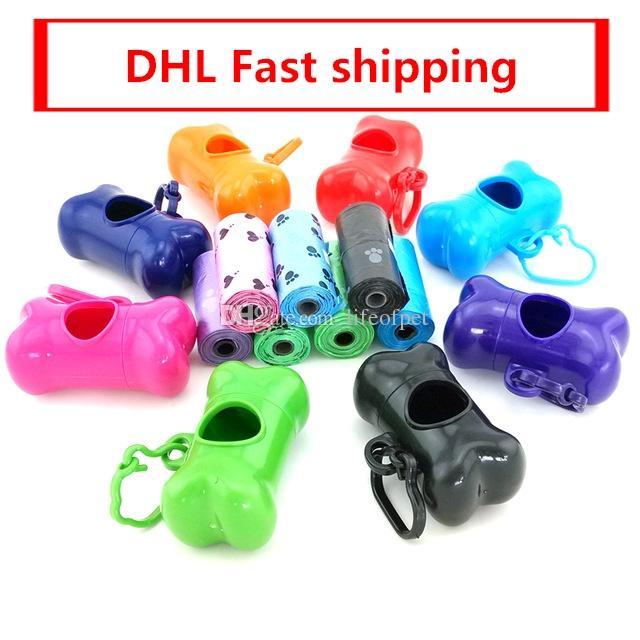Kurul Biyobozunur Çevre PE DHL ücretsiz Nakliye üzerinde çantaları 100 Set Kemik Dispenserler Pet Köpek Poop Atık Torbaları