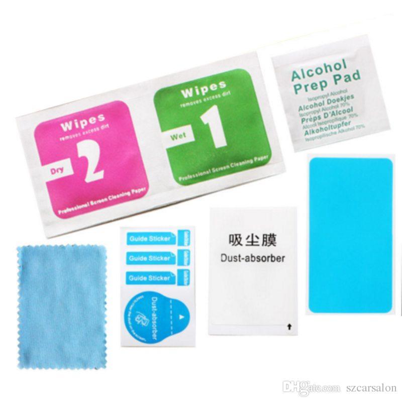깨끗한 천 젖은 및 마른 물티슈 먼지 흡수 장치 가이드 스티커 핸드폰 LCD 용 알코올 준비 패드 강화 유리 화면 보호기 알콜 세정제