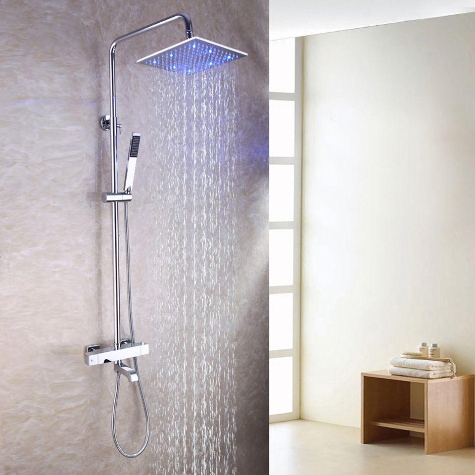 온도 조절 노출 된 욕실 샤워 꼭지 세트 10 인치 온도 민감한 강우 샤워 헤드 브래스 경감 님이 핸드 샤워 2102