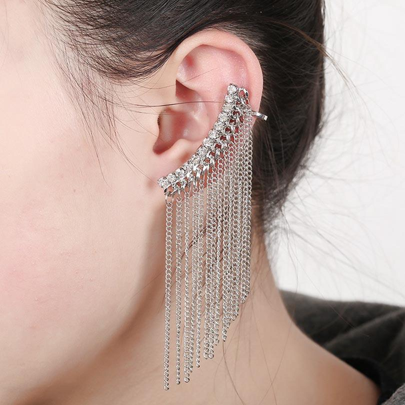 ZLDYOU Punk Jewelry Women Crystal Ear Cuff Chain Fashion Gold Silver Plated Zircon Long Tassel Rhinestones Clip Earring
