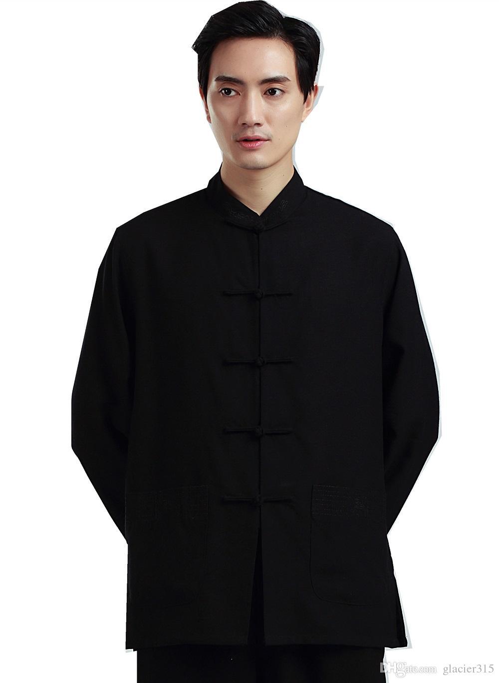 Shanghai Story Martial Arts Shirt For men Tai ji clothing Shirt kungfu Top Linen chinese kung fu Shirt Man Tai Chi CLothes 2 color