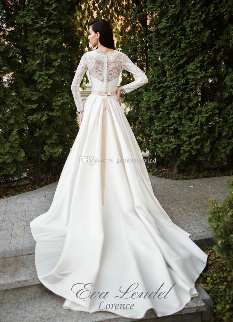 long sleeved simple summer country wedding dresses 2018 eva lendal ...