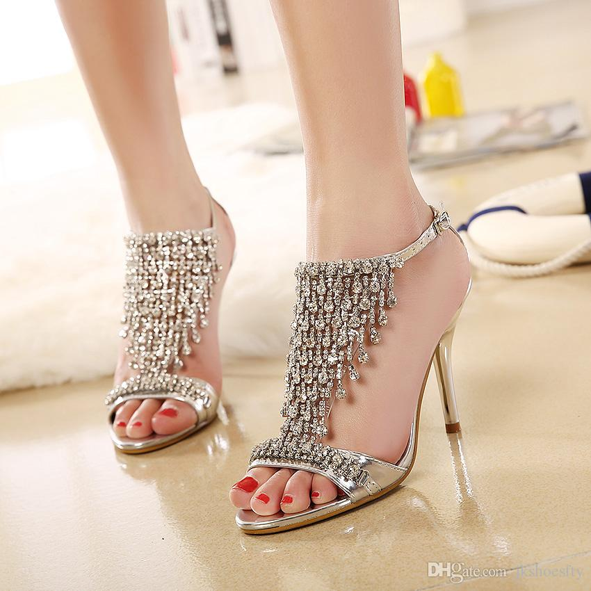 Strass Ankle Strap Dünne Cinderella Damen Gold Schuhe