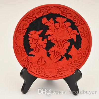 Ciotola / piatto rossi cinesi della lacca di cinabro di vecchio stile poco costoso all'ingrosso 5