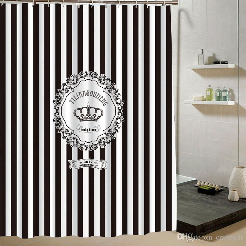 2019 European American Black White Stripes Crown Shower Curtains