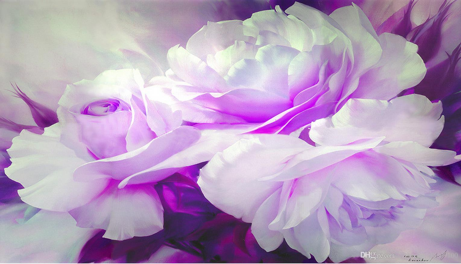 Custom Any Size Purple Peony Floral Background Painting Mural 3d