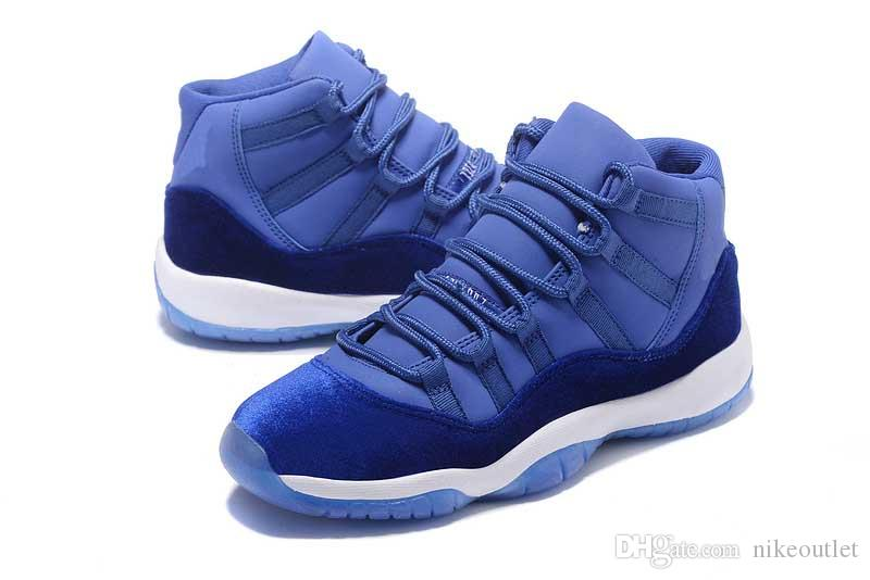 competitive price 983f3 9f722 Wholesale Air Retro 11 XI Blue Velvet Heiress Fashion Basketball Shoes For  Men Women Outdoor Sports Sneakers Size5.5 13 Women Basketball Shoes Men ...