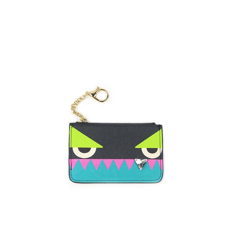 Gros- nouvelles 2017 design mignon mini-femmes monstre porte-monnaie goujon portefeuille clé en cuir PU dame à la mode fleur porte-cartes pour qn033 femme