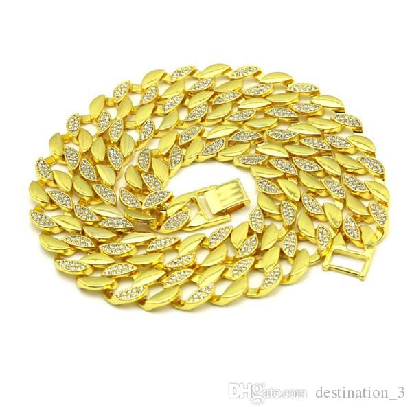 "Mens New Yellow Gold und Silber Finish Crystal 30 ""große Kette Halskette Hip Hop Kette für Männer"