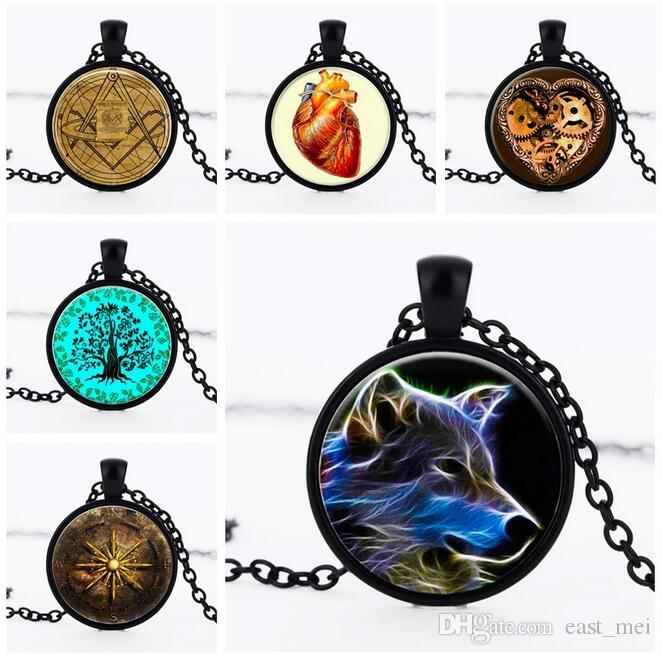 Brand new Sweater Chain Gemstone Necklace Witchcraft Wharf Glass Pendant WFN342 (with chain) mix order 20 pieces a lot