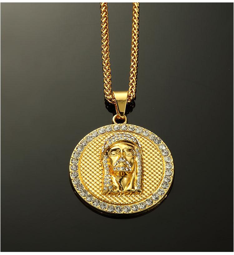 07 hip hop jesus round shape pendant necklace